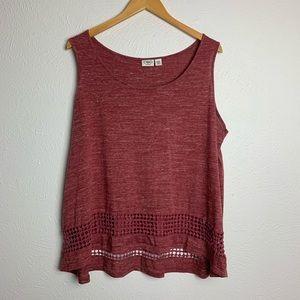 Cato Soft Tank Top w/ Crochet Detail at the Hem